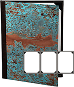 Three View Patina Copper Menu Covers 4.25 X 11